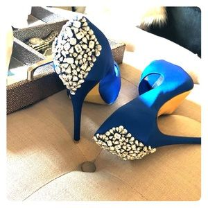 Royal blue Kate Preston size 9 jeweled pumps